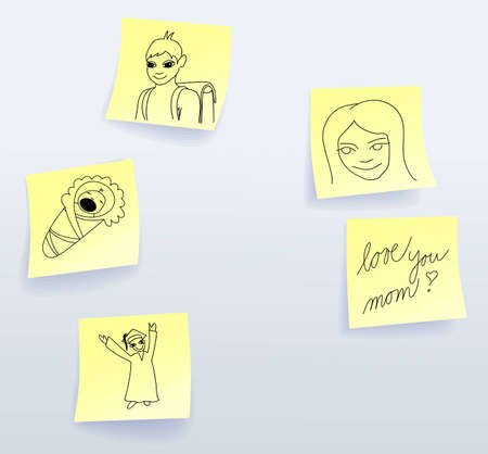 mother board: Sticky notes for Mothers Day from son Illustration