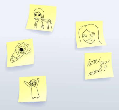 bebe a bordo: Las notas adhesivas para el D�a de las Madres de la hija Vectores