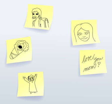 Sticky notes for Mothers Day from daughter Vector