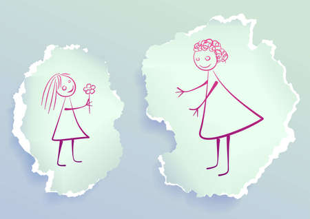 fun day: Girl giving flower to her mom, drawing on torn paper