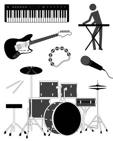 bass drum: Simple music icon set Illustration