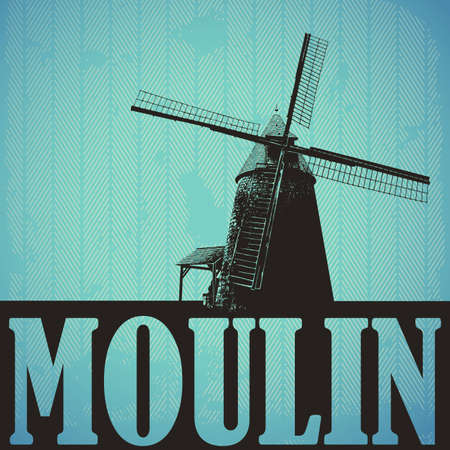 wind mills: Retro background with old windmill