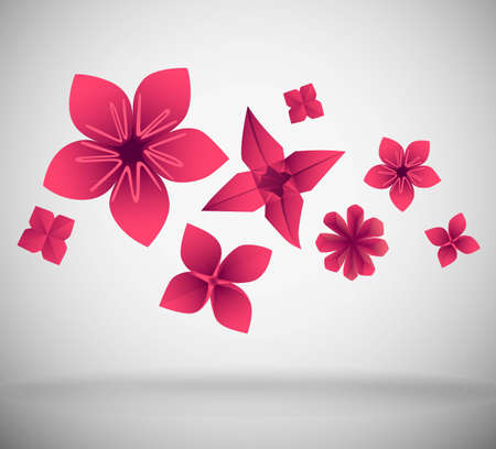 3d paper art: Abstract background made of pink paper flowers