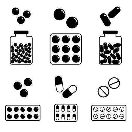 extase: Medische pictogrammen, set van verschillende pillen, eps8 formaat