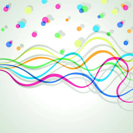 color spectrum: Wavy background made of colorful lines and dots