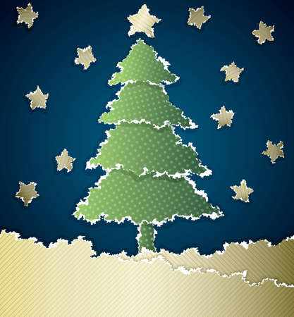 Christmas card made of torn paper with space for Your text Vector