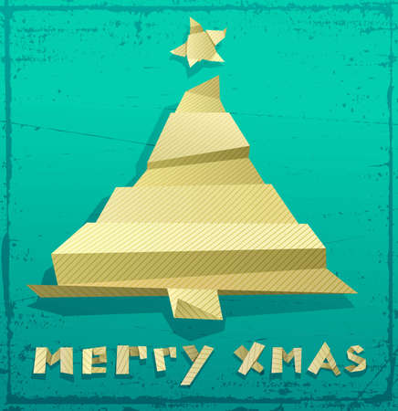 Christmas card made of folded paper with space for Your text Vector