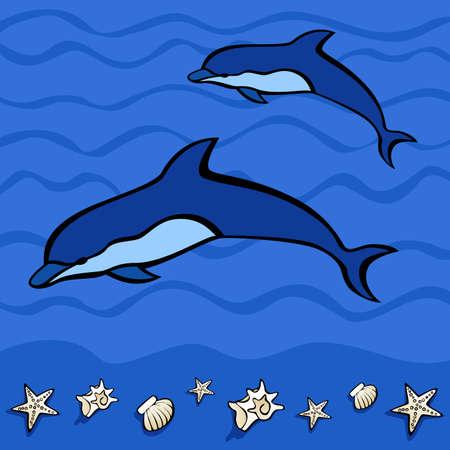 Jumping Dolphins illustration Illustration