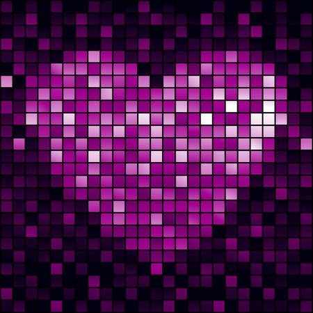 Heart, shiny mosaic banner illustration Vector