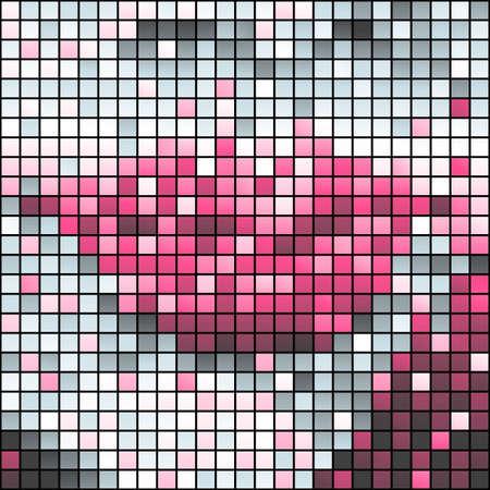 Pink lips mosaic Vector