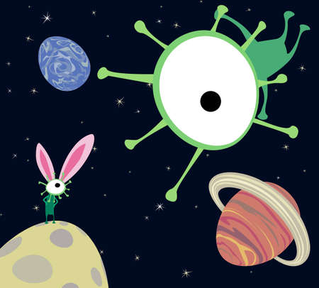 Aliens celebrating Easter illustration Vector
