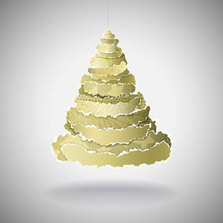 Christmas Tree made of torn peaces of gold fancy paper Vector