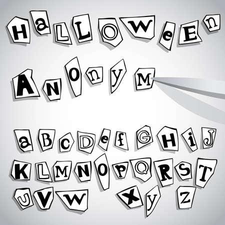 typesetter: Halloween anonymous alphabet, vector eps8 illustration