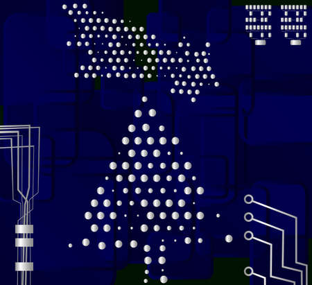 high detail: Circuit Christmas Tree, vector eps8 illustration