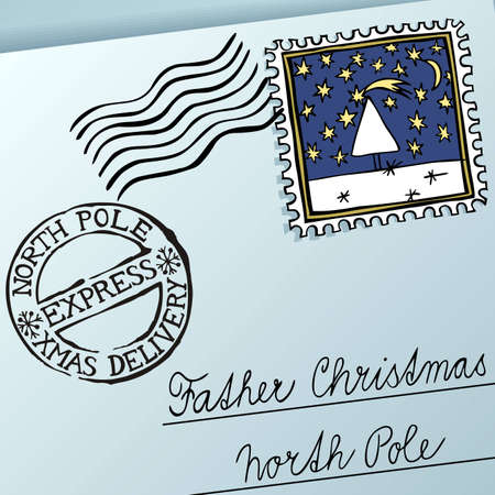 christmas mail: Letter for Father Christmas, vector eps8 illustration Illustration