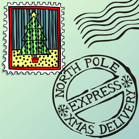 north star: Doodle Christmas stamps, vector eps8 illustration