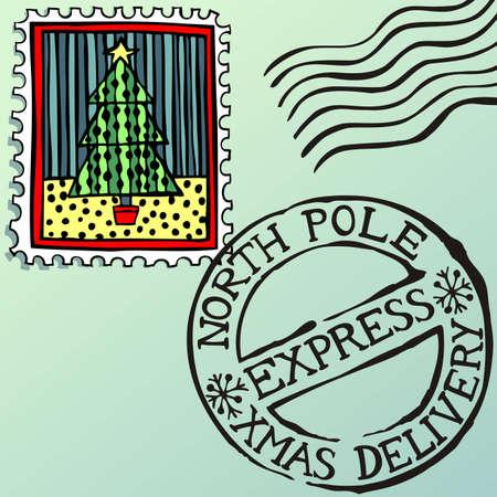 postmark: Doodle Weihnachten Briefmarken-, Vektor-Illustration eps8