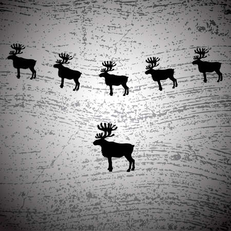 mamal: Christmas background with reindeers, vector eps8 illustration