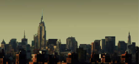 old new york: Manhattan panorama, vector eps8 illustration
