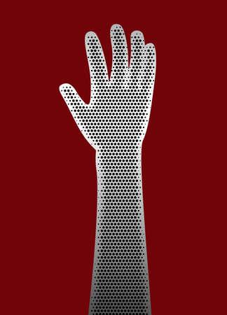 acirc: Perforated metal hand illustration