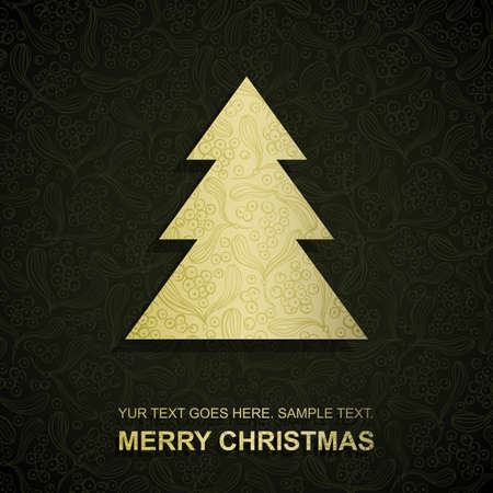 conifers: Christmas card with gold paper Christmas Tree, vector eps8 illustration