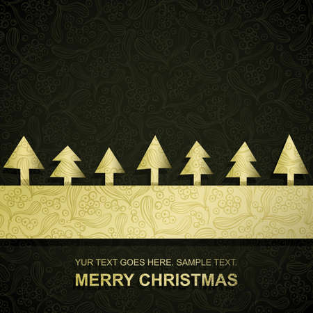 Christmas card with gold paper Christmas Trees, vector eps8 illustration Vector