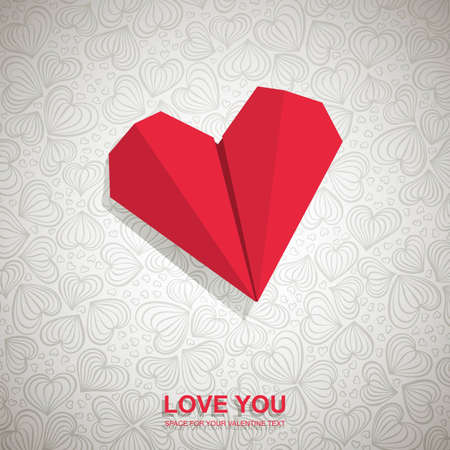 Valentine card made of red paper heart. Vector