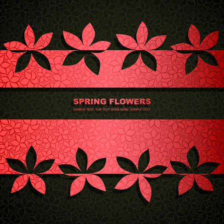 Spring banner made of fancy paper flowers with space for Your text Vector