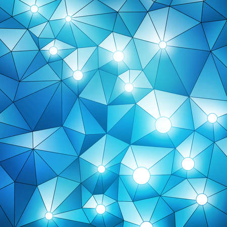 Blue spatial banner with glowing lights Vector