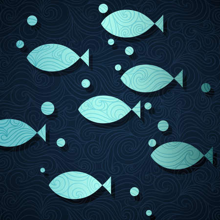 Ocean life banner made of fancy paper, vector eps8 illustration Vector