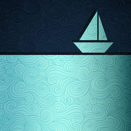 paper curl: Summer sea banner with sailing boat made of fancy paper