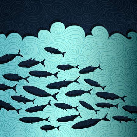 Ocean life banner made of fancy paper, vector eps8 illustration