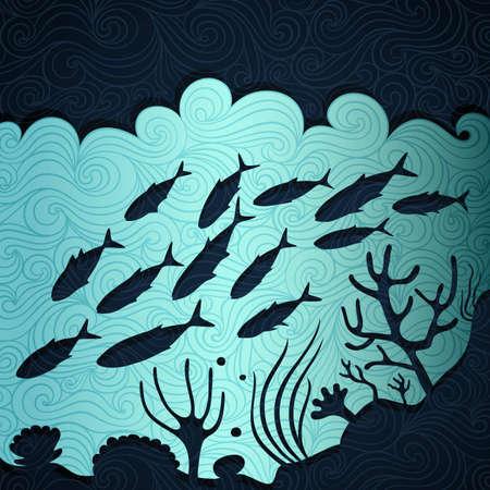 ファンシー紙で作られた海洋生命バナー