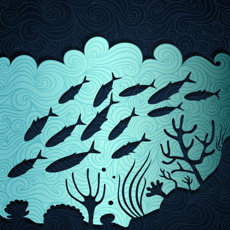 exotic fish: Ocean life banner made of fancy paper