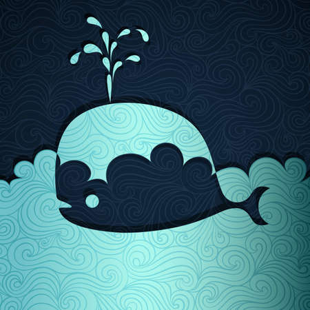 blue whale: Whale banner made of fancy paper