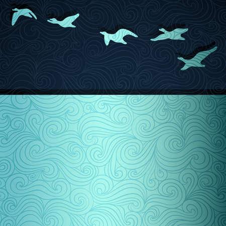 migraci�n: Los gansos que vuelan sobre el lago Vectores