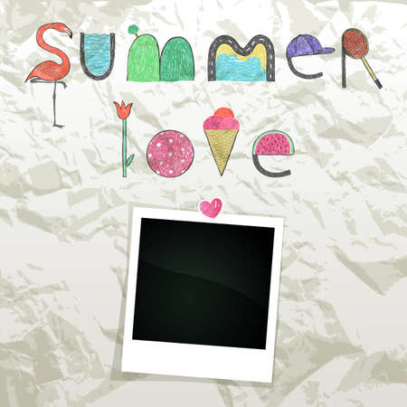 Summer doodle text on wrinkled paper with empty photo frame Vector