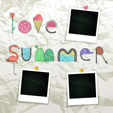Summer grunge scrapbook with empty photo frames Vector