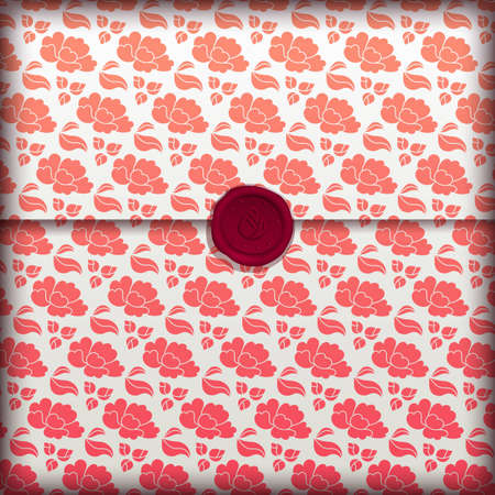 wax stamp: Floral banner, fancy flower paper with wax seal Illustration