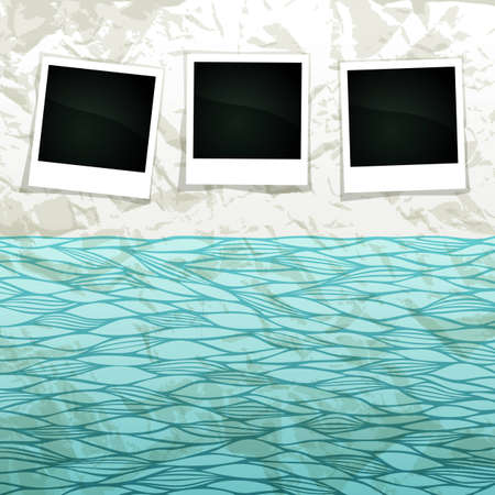Summer sea scrapbook banner with empty frames for Your photos Vector