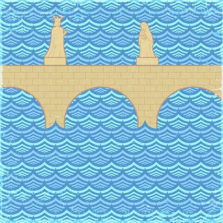 Old bridge banner, vector eps10 illustration Vector