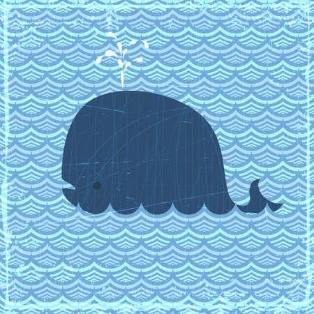 migraci�n: Grunge banner de verano con ballenas, vector eps10 ilustraci�n