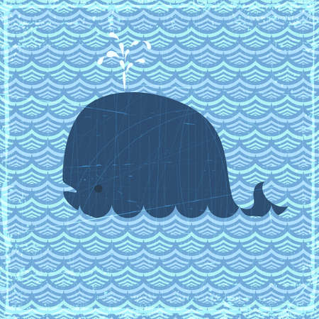 Grunge summer banner with whale, vector eps10 illustration Illustration