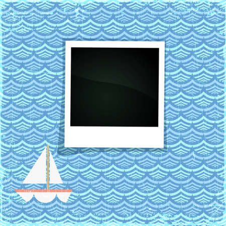 Summer photo frame. Fancy sea paper with boat and space for Your photo, eps10 illustration Vector
