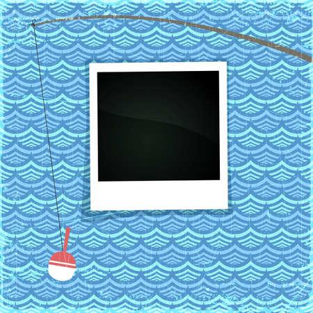 canna pesca: Estate photo frame. Mare di carta fantasia con la canna da pesca bianca e lo spazio per la tua foto, eps10 illustrazione