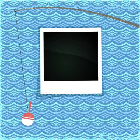 Summer photo frame. Fancy sea paper with white fishing rod and space for Your photo, eps10 illustration Stock Vector - 14883882