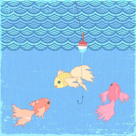 Fishing float with goldfish, eps10 illustration Stock Vector - 14883881