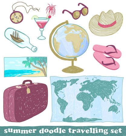 Set of summer doodle travelling icons, vector eps8 Vector
