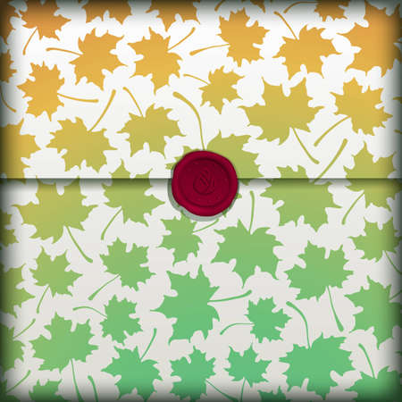 Autumn letter banner with wax seal. Vector eps10 illustration. Vector