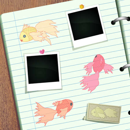 Goldfish doodle scrapbook banner with space for Your photos. Vector eps10 format. Vector